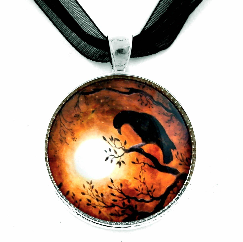 Laura Milnor Iverson Raven Pendant Necklace Crow Moon Bird Silhouette Sepia Poe Handmade Jewelry Art