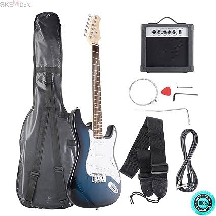 Amazon Com Skemidex Full Size Blue White Electric Guitar 10w Amp