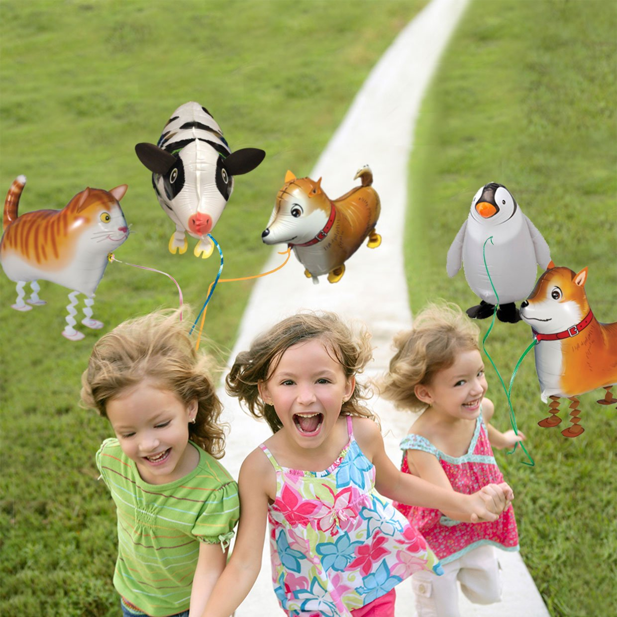 5pcs Walking Pet Animal Balloons Kids toys Party Favors Gifts for Girls Air Walker group-F by Merveilleux (Image #4)