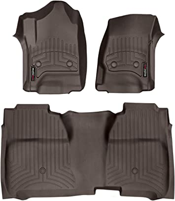 Amazon Com Weathertech Custom Fit Floorliner For Silverado Sierra Crew Cab 1st 2nd Row Cocoa Automotive
