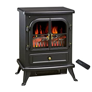 NEW See Through Electric Fireplace Free Standing Electric 1500W Fireplace  Heater Fire Flame Stove W/