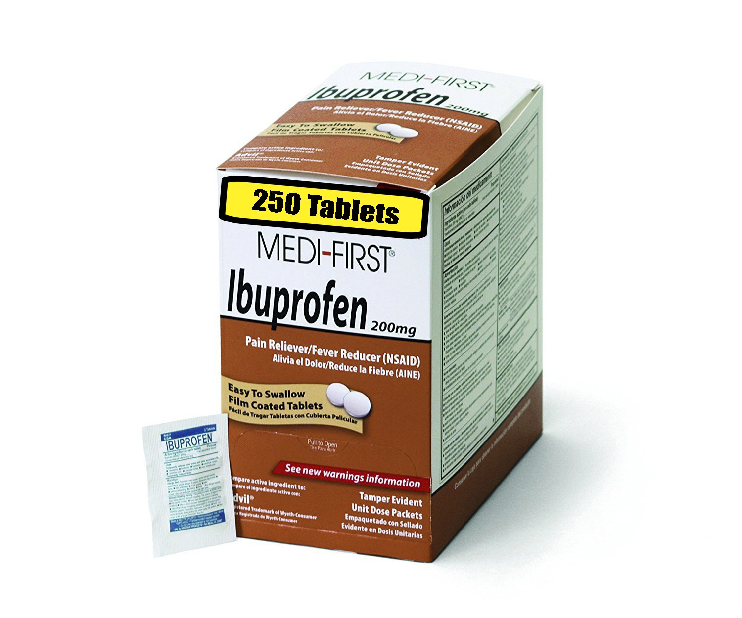 Medi-First 80848 Ibuprofen, 125 Packets of 2, Pain Reliever