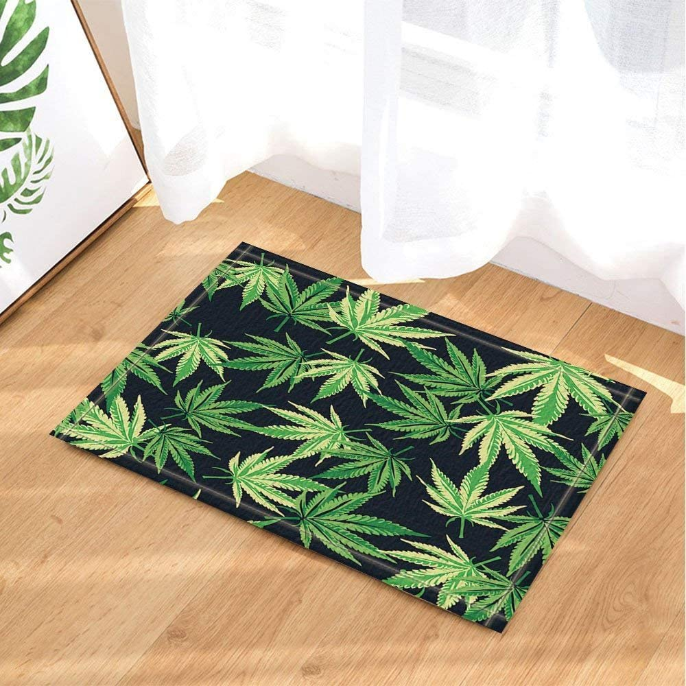 Vector de decoración de plantas Cannabis Marihuana Hojas en alfombras de baño Alfombrilla antideslizante Entradas de piso Alfombra de puerta interior Alfombrilla de baño para niños Accesorios de baño