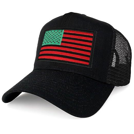 64e6c6f4f4b Armycrew XXL Oversize Red Green Black USA Flag Patch Mesh Back Trucker  Baseball Cap - Black