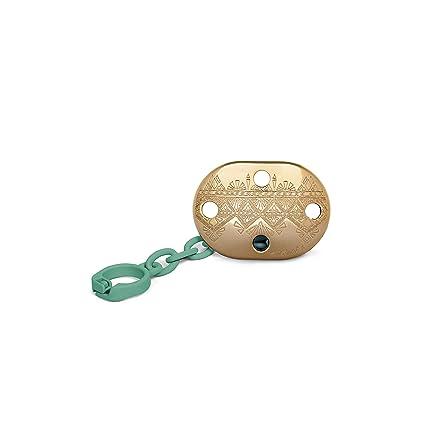 Suavinex - Broche Chupete de Bebé Premium Haute Couture. Broche Pinza Redondo. 0% BPA. Diseño Étnico Con Relieves Color Dorado y Verde