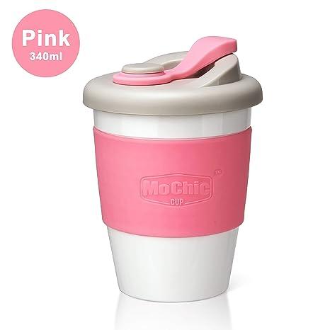 Amazon.com: Taza de café reutilizable de viaje con tapa a ...
