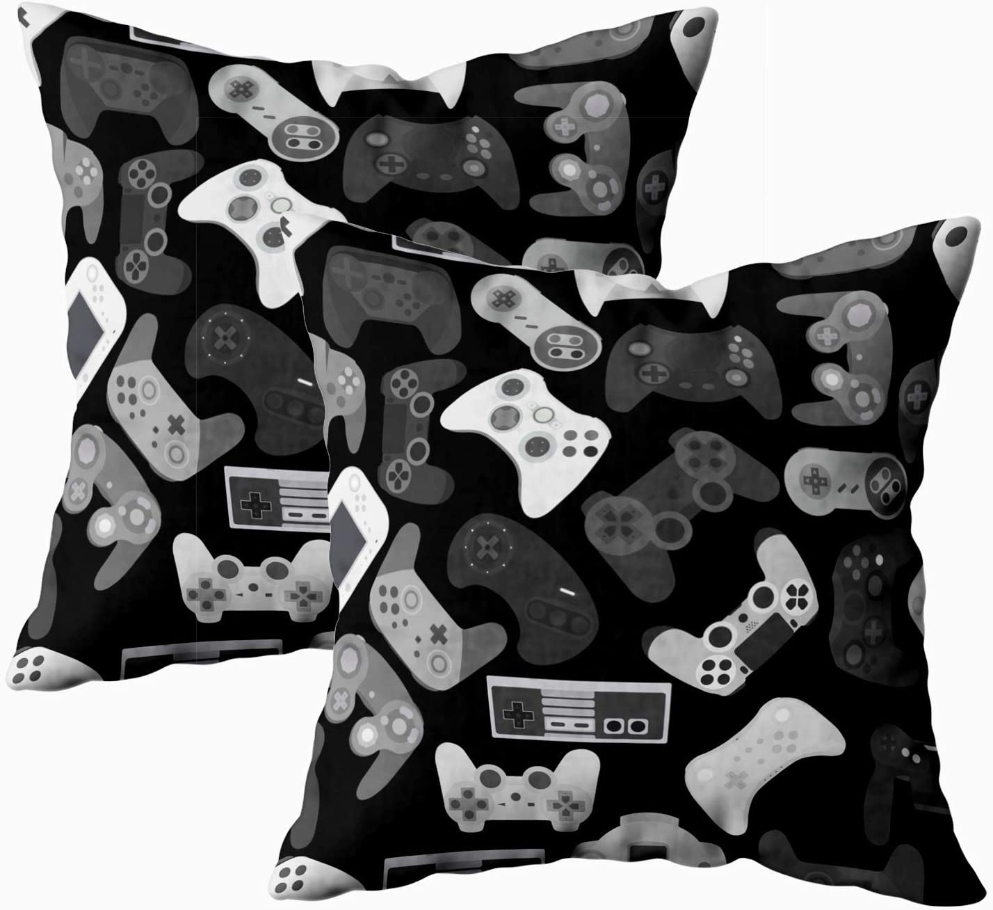 TOMWISH Decor Pillow Covers,TOMKEY 2 Packs Hidden Zippered 18X18Inch Video Game Controller Background Gadgets Pattern Black White Decor Throw Cotton Pillow Case Cushion Cover for Home Decor