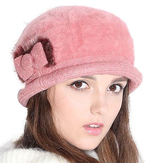 Jemis Wool Bucket Hat Felt Cloche Bow Ski Berets Hat (Pink) at ... cef7b127b74