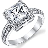 Ultimate Metals Co. 2 Carat Princess Cut CZ Sterling Silver 925 Wedding Engagement Ring