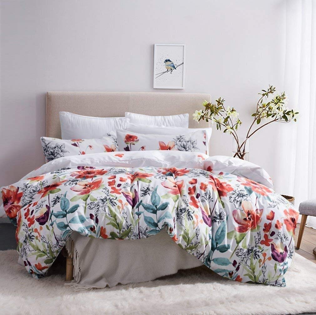 Leadtimes Twin Duvet Cover Set Kids Girls Floral Leaf White Bedding Set with 1 Boho Duvet Cover and 1 Pillowcase (Twin, Style2)