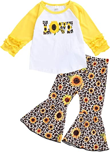 Toddler Newborn Baby Girl Pants Set Romper T-Shirt Top Bell Bottom Pants Sister Matching Outfits Halloween Pumpkin Clothes