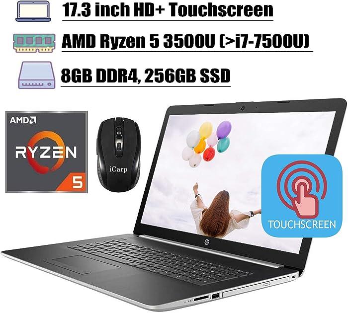 "2020 Latest HP 17 Flagship Laptop Computer 17.3"" HD+ Touchscreen AMD Quad-Core Ryzen 5 3500U (Beats i7-7500U) 8GB DDR4 256GB SSD WiFi HDMI Backlit KB DVD Webcam Win 10 + iCarp Wireless Mouse"