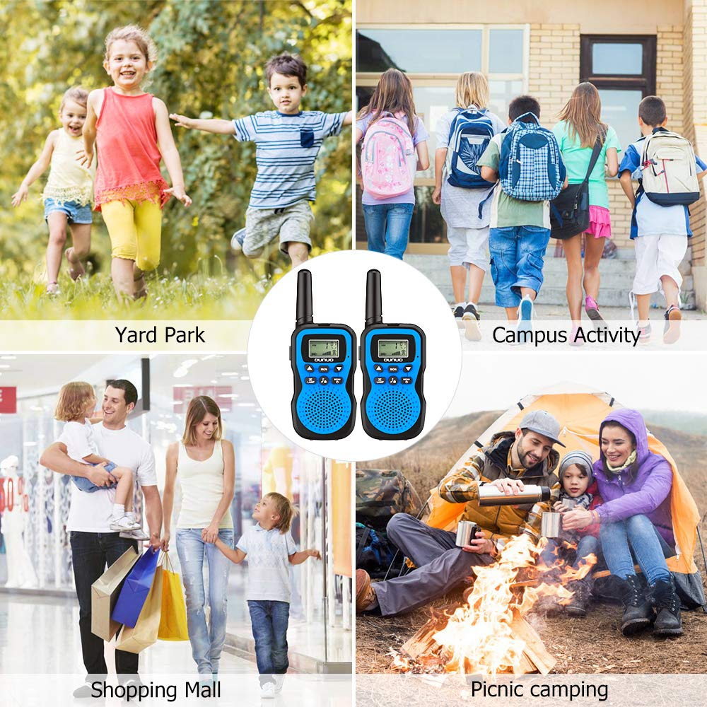 OUNUO Kids Walkie Talkies, 4 Miles Range Walkie Talkies for Kids 22 Channels 10 Customized Ringtones with Flashlight for Outdoors Good Parenting Toys - 1 Pair by OUNUO (Image #6)