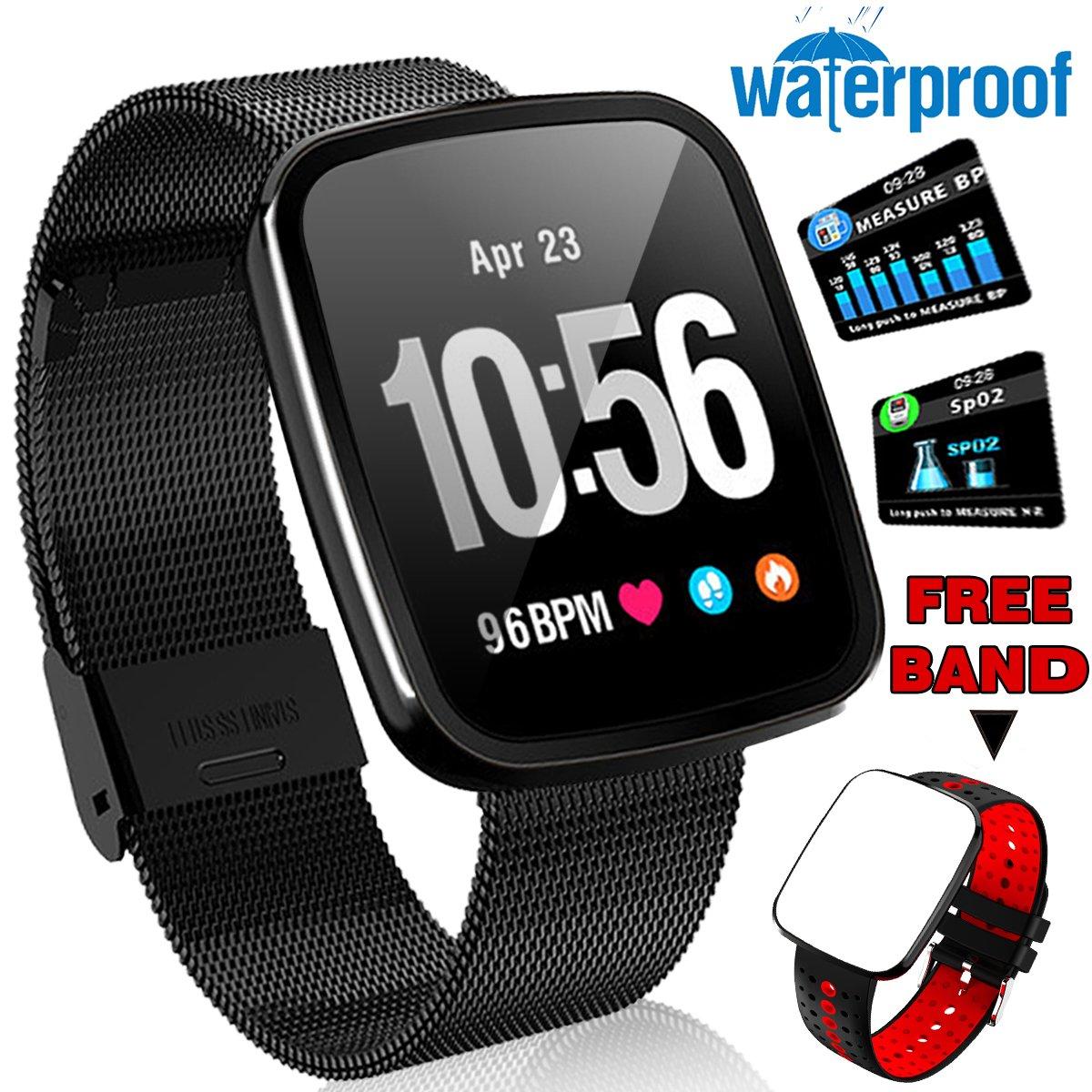 ONMet SmartWatch Fitness Tracker IP67 Waterproof with Heart Rate Blood Pressure Monitor Men Women Swim Run Outdoor Sport Watch GPS Activity Tracker Pedometer Calorie Stopwatch IOS Android