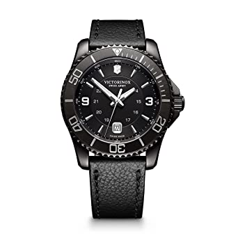 6040c92fcc1 Victorinox Men s  Maverick  Swiss Quartz Stainless Steel and Leather Casual  Watch