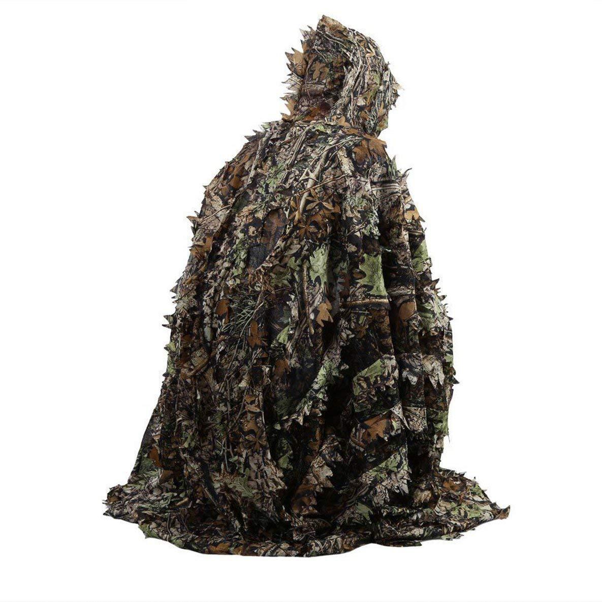 Moliies Realistiche 3D Foglie Camouflage Poncho Mantello Stealth Suit Outdoor Woodland CS Gioco Abbigliamento per la Caccia
