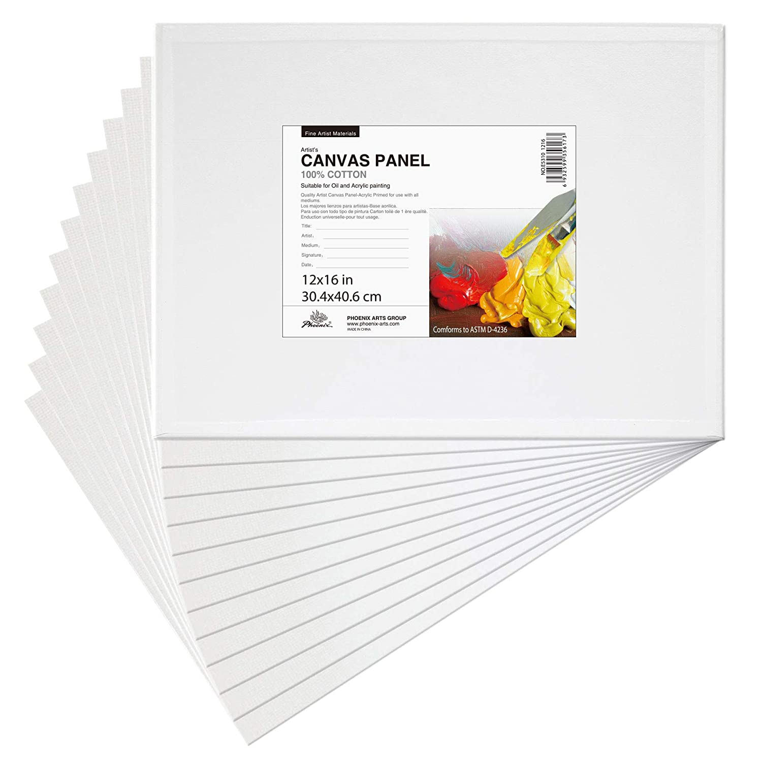 Phoenix 12x16 inch Painting Canvas Panel Boards 12 Set of Super Value Pack 1/7 inch Deep for Professional Artist, Student & Kid