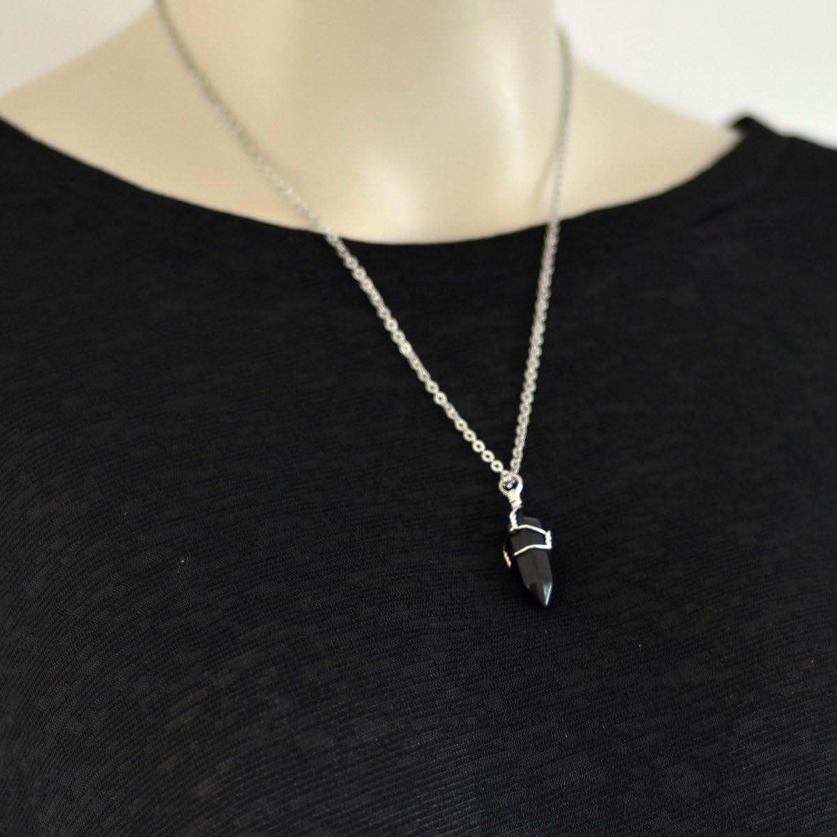 ca Silberne Halskette mit nat/ürlichem Kristall mit heilender Wirkung f/ür das Chakra 45,7/cm