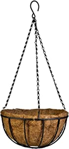 Kingbuy Hanging Basket Planter Metal with Coconut Coir Liner Wire Plant Holder with Garden Decorations for Porch Pots Hanger Home Garden Decoration Indoor Outdoor Watering Plant Flower Pot-10inch