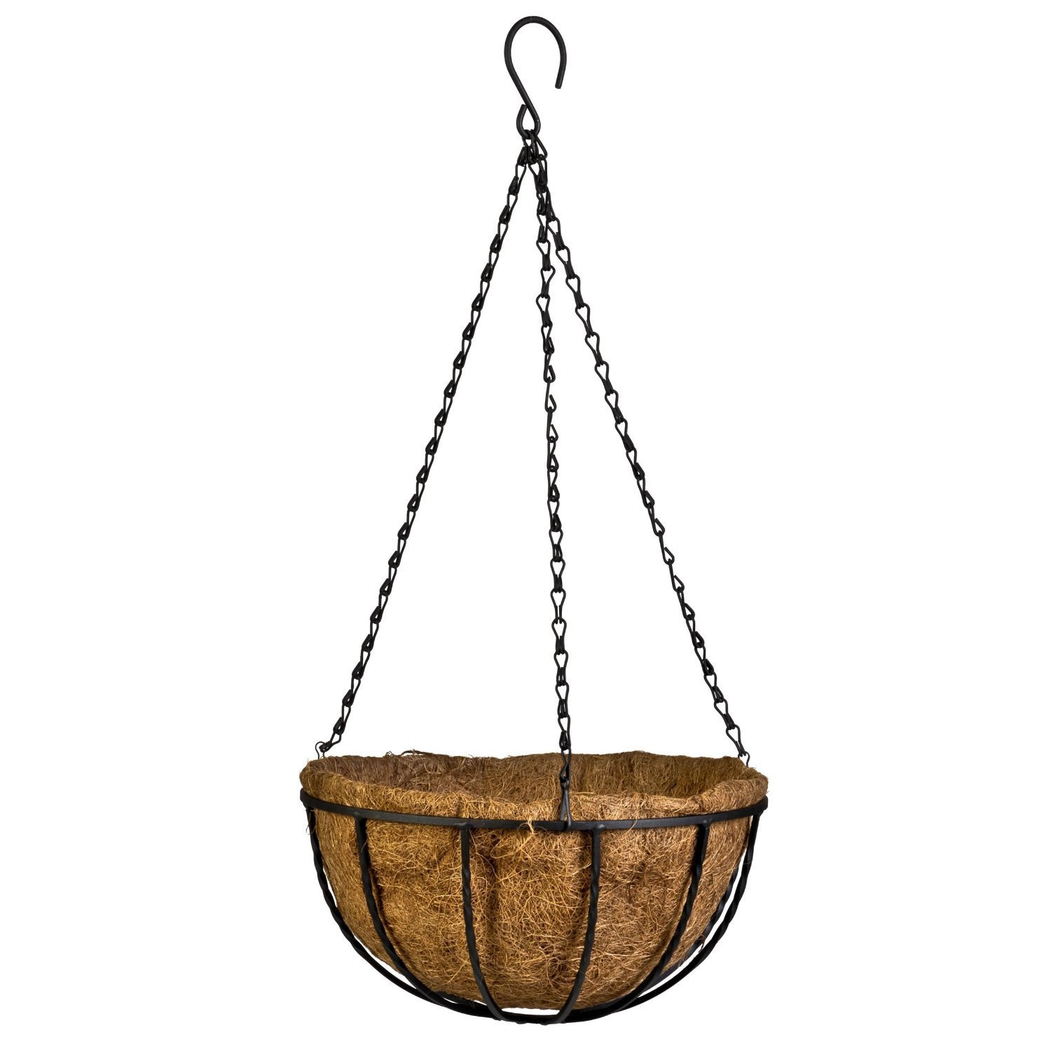 Kingbuy Hanging Basket Planter Metal with Coconut Coir Liner Wire Plant Holder with Garden Decorations for Porch Pots Hanger Home Garden Decoration Indoor Outdoor Watering Plant Flower Pot-12inch