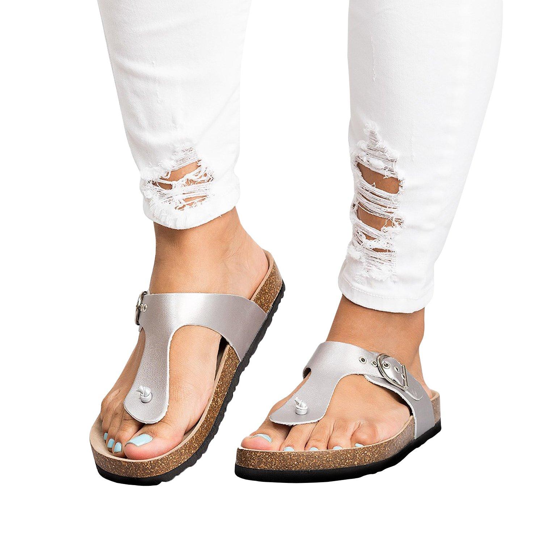 Gemijacka Damen Flip Flops Schuhe Sandalen Schnalle Peep-Toe Slip Sommer Strand Flache 5E0Tw