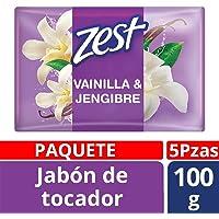 Zest Jabón de Tocador, Vainilla/Jengibre, 100 gr, Paquete de 5 Piezas
