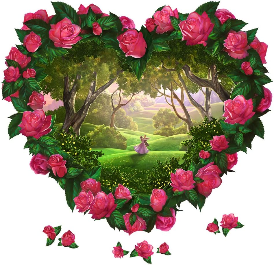 Heart Flowers Fantasy Large Wall Decal Set Arts Crafts Sewing