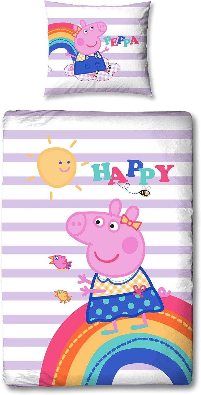 Peppa Pig Pig niña Reversible de cama infantil Happy Peppa Lila ...