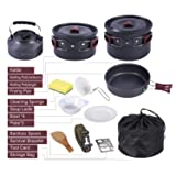 REDCAMP 16 PCS Camping Cookware Set for Family with Kettle, Lightweight Backpacking Cooking Set for 4-5 Persons, Anodized Aluminum Compact Camping Pots and Pans Set