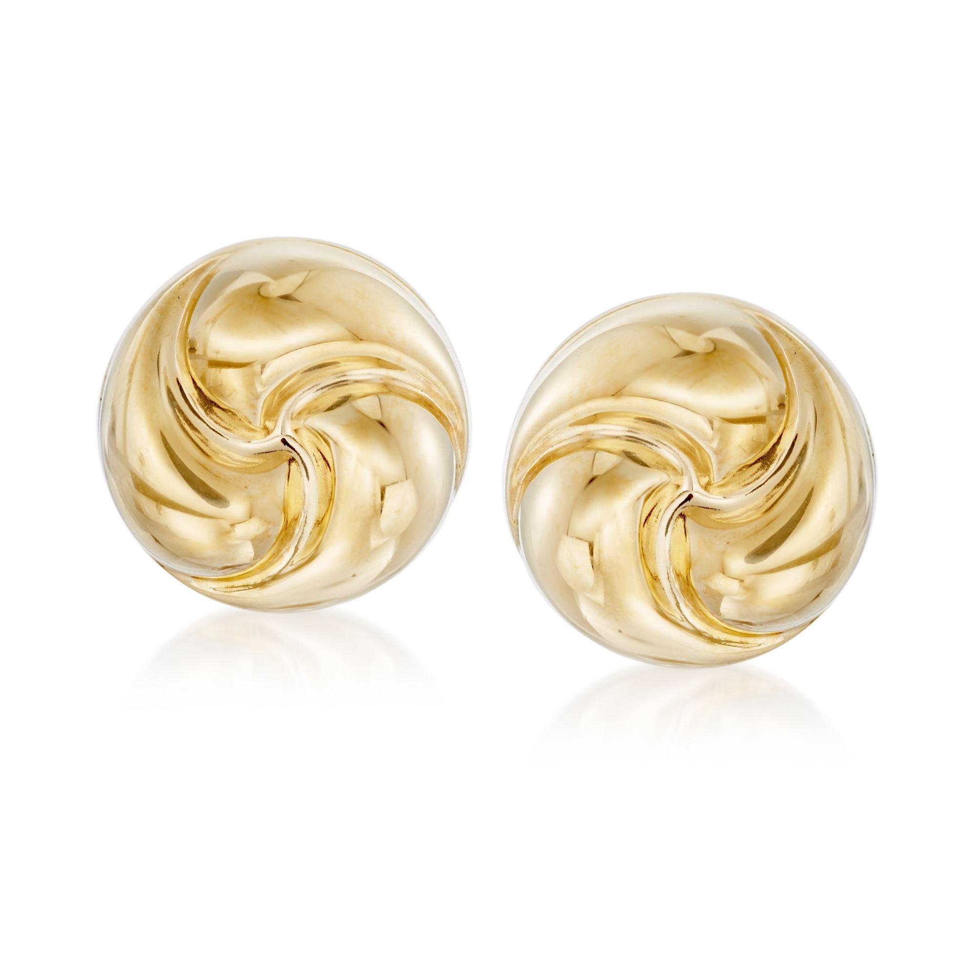 Ross-Simons Italian 18kt Yellow Gold Rosetta Love Knot Stud Earrings