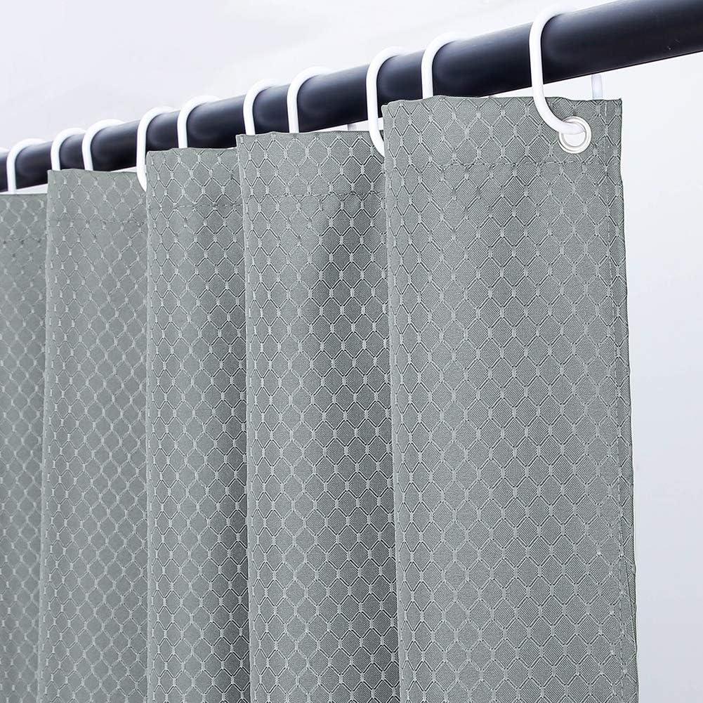 Cortina Duchacon Patr/ón de Panal Peque/ña Tela Antimoho Poli/éster Cortinas de Ba/ño Decorativas Impermeable /& Lavable,Blanco Duchas de Ba/ño Cortinas con 12 Aros de Cortina Ducha-180x180cm.