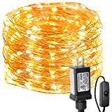 LE Fairy Lights with Switch, 66ft 200 LED, Plug in, Waterproof, Indoor Outdoor Decorative Copper String Light for…