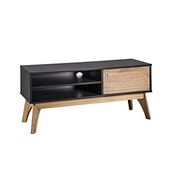 Manhattan Comfort Cs96709 Jackie Medium Sized Midcentury Modern Tv Stand Small Dark Gray Natural