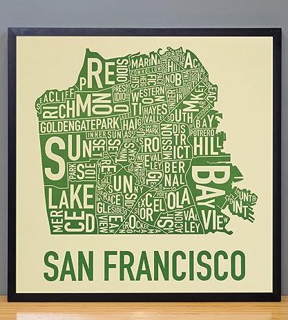 Amazoncom Framed San Francisco Neighborhoods Map Tan Green 18