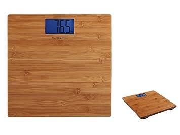 Báscula digital de pantalla LCD Cuerpo Balanza de peso hasta 180 kg Madera (apagado automático, Digital Báscula, 100 g pasos, bambú): Amazon.es: Hogar