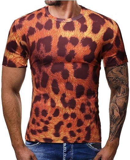 TUDUZ Camisetas Hombre Manga Corta Top Estampado Leopardo: Amazon.es: Ropa y accesorios