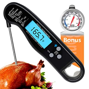Food Thermometer, Instant Read Meat Thermometer for Cooking, Waterproof digital Kitchen thermometer with Long Probe, Ultra Fast Cooking Thermometer for Grilling, Extra Oven Thermometer for Baking