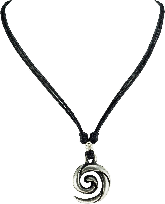 BlueRica Koru Spiral Wave Pendant on Adjustable Black Rope Cord Necklace