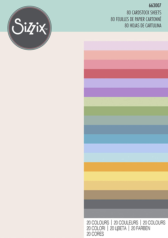 20 colores Hojas de cartulina 80PK Sizzix Accesorio Papel,