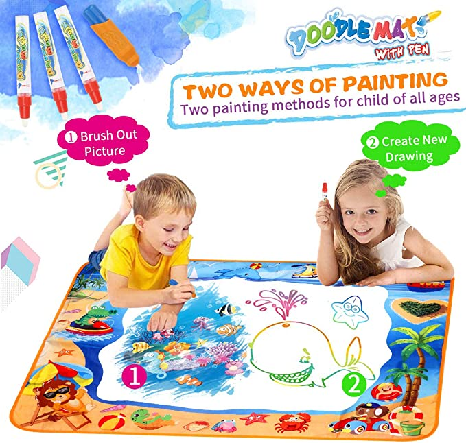 Water Doodle Mats Multicolor Drawing Mat Sea World Large Size 39.3 x 27.6 Inch Educational Learning Birthday Toys Gifts for 2 3 4 Years Old Girls Boys Tolddlers Kids 3 Pens 8 Molds 4 Templates 1 Book