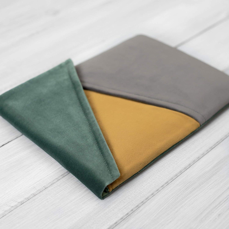 étui/housse / sleeve/pochette pour tablette iPad Pro Air Mini 9.7 10,5 12.9 tissu velours super design, Couvercle triangulaire, Trois couleurs, Gris, vert et or