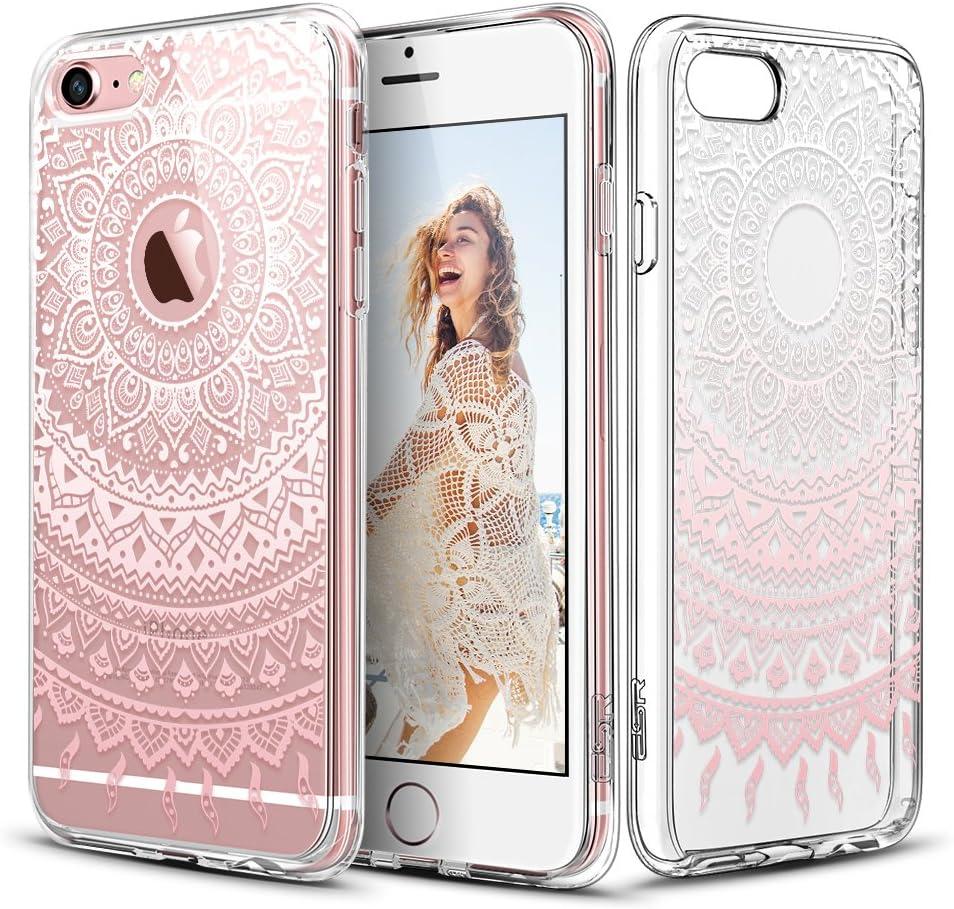 ESR Coque pour iPhone 6/6S, Coque Silicone Transparente Motif Mandala Tribal Fleur Henné Imprimé, Housse Etui de Protection Bumper Premium [Anti Choc] ...