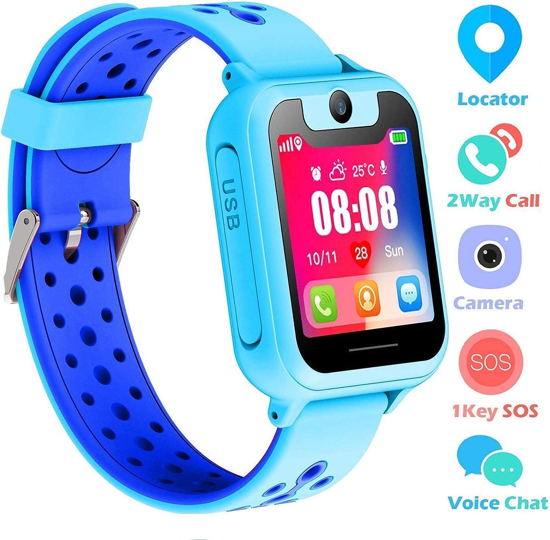 Supoggy Reloj Inteligente Niño LBS Tracker Smartwatch para niños Pulsera GPS Niños SOS Cámara Pantalla Táctil Juego Actividad al Aire Libre Juguetes Regalo para niños para iOS/Android Reloj Niño GPS