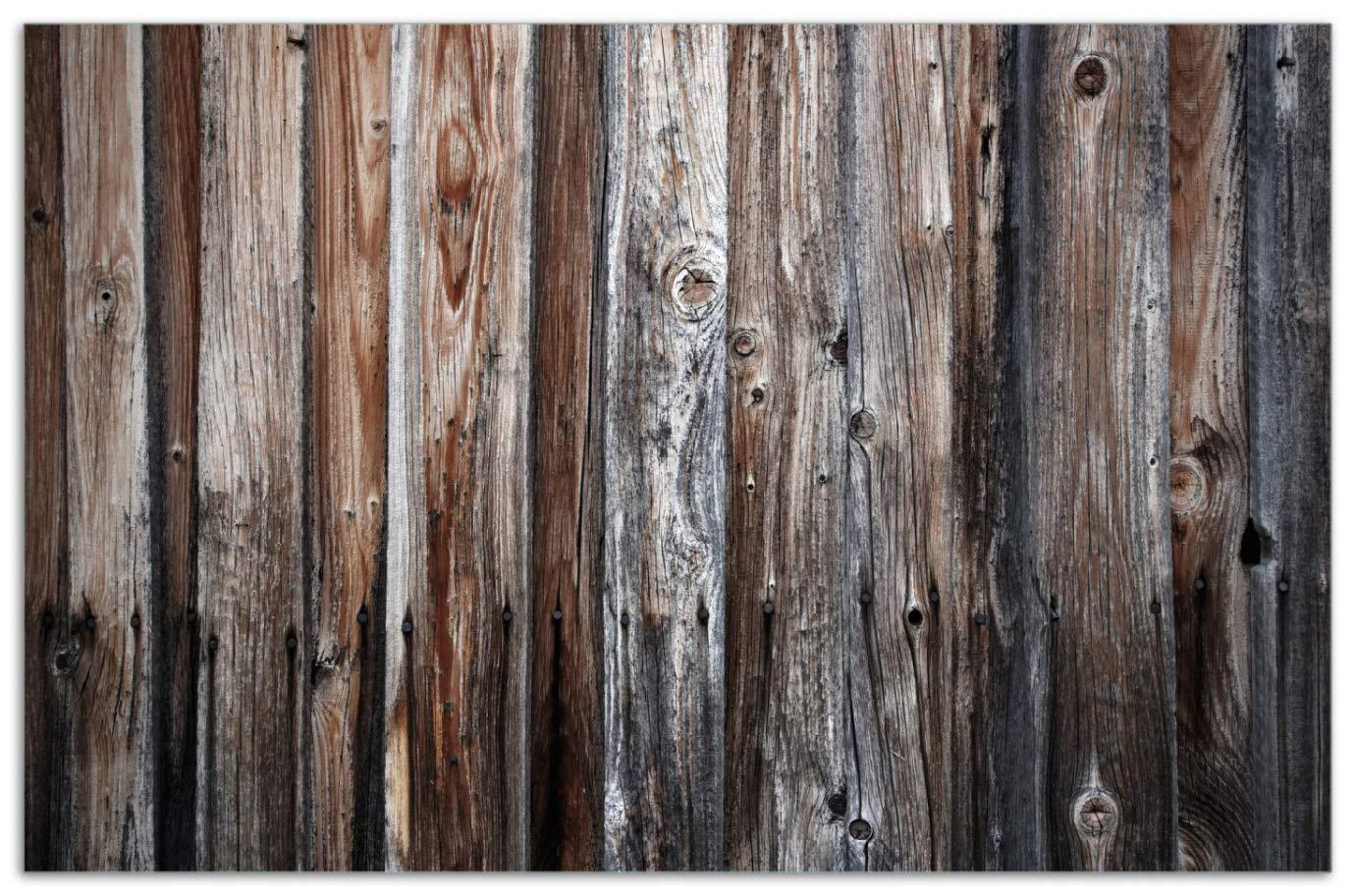 Alte Holzwand f/ür Ceran- und Induktionsherde Wallario Herdabdeckplatte//Spritzschutz aus Glas Holzplanken in grau und braun 52x60cm 1-teilig