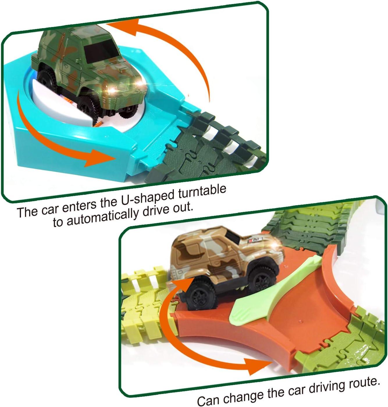 Amazon.com: HOMOFY Dinosaur Juguetes Race Car Flexible Track ...