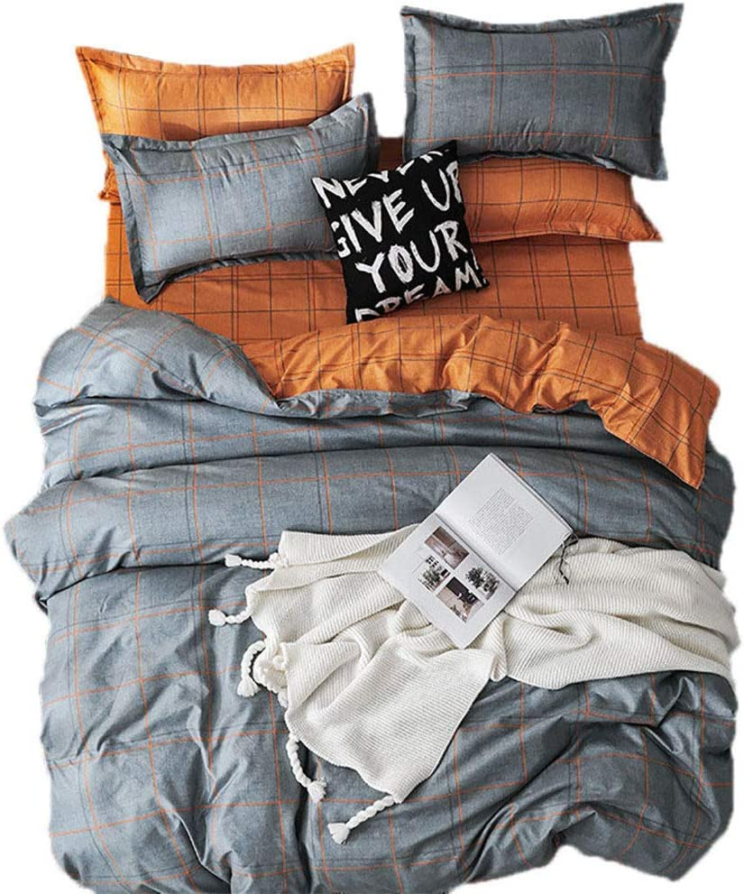 Sookie Kids Modern Polyester 3PCs Grid Bedding Set for Women and Men(1Duvet Cover+2 Pillow Shams) Soft Teen Comforter Cover with 4 Corner Ties -Full/Queen,Orange and Gray