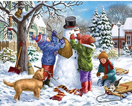 Amazon.com: Bits and Pieces - 300 Large Piece Jigsaw Puzzle for Adults -  Building a Snowman on a Snow Day - 300 pc Winter Scene Jigsaw by Artist Liz  Goodrick-Dillon: Toys & Games
