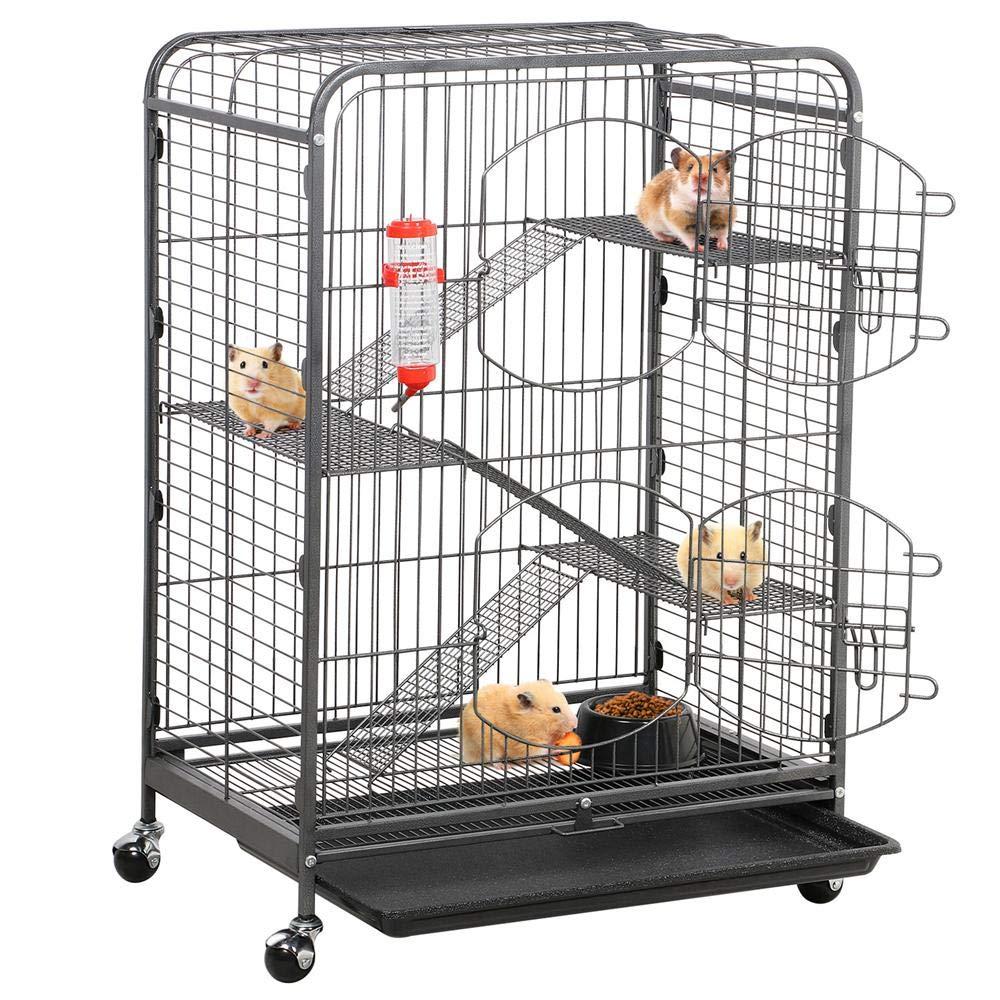 go2buy 37'' Metal Rat Ferret Cage - 4 Level Small Animals Hutch w/ 2 Front Doors/Feeder/Wheels Indoor Outdoor for Pet Chinchilla Squirrel Sugar Glider Black