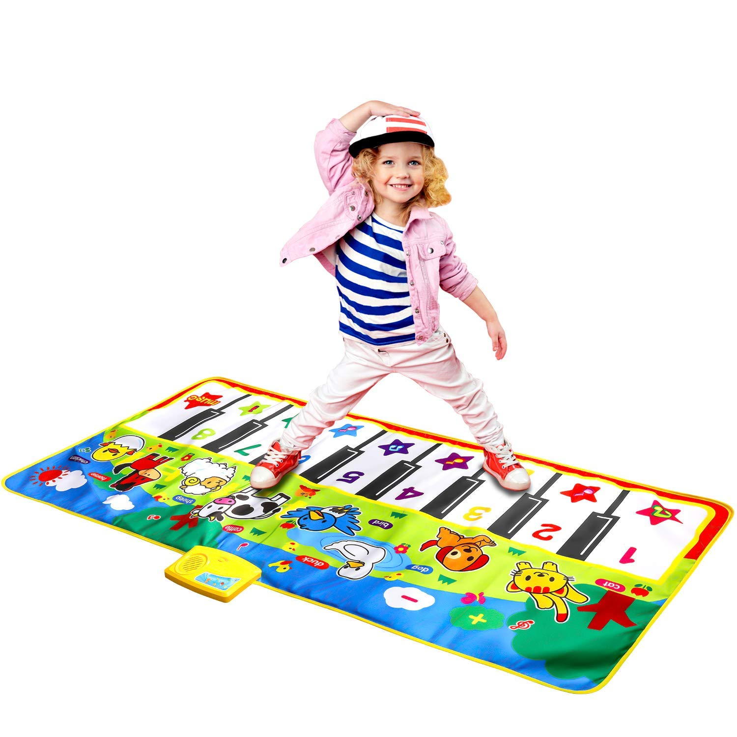 Joyfia Piano Mat, 53.2'' Electronic Music Piano Keyboard Carpet Animal Blanket Touch Dance Play Mat Toys, Baby Early Education Gifts for Kids Toddler Infant Boys Girls by Joyfia (Image #1)