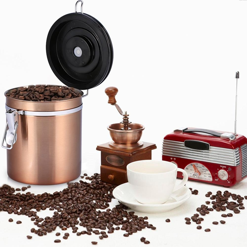 Stainless Steel Coffee Tea Beans Container With Venting Valve Total Protection From Oxidation Burgundy